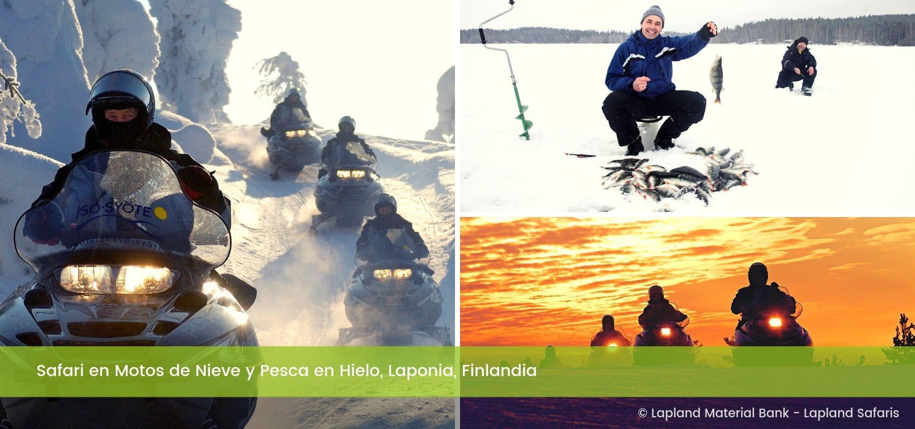 Safari Motos de Nieve Pesca en Hielo Rovaniemi Laponia Finlandia