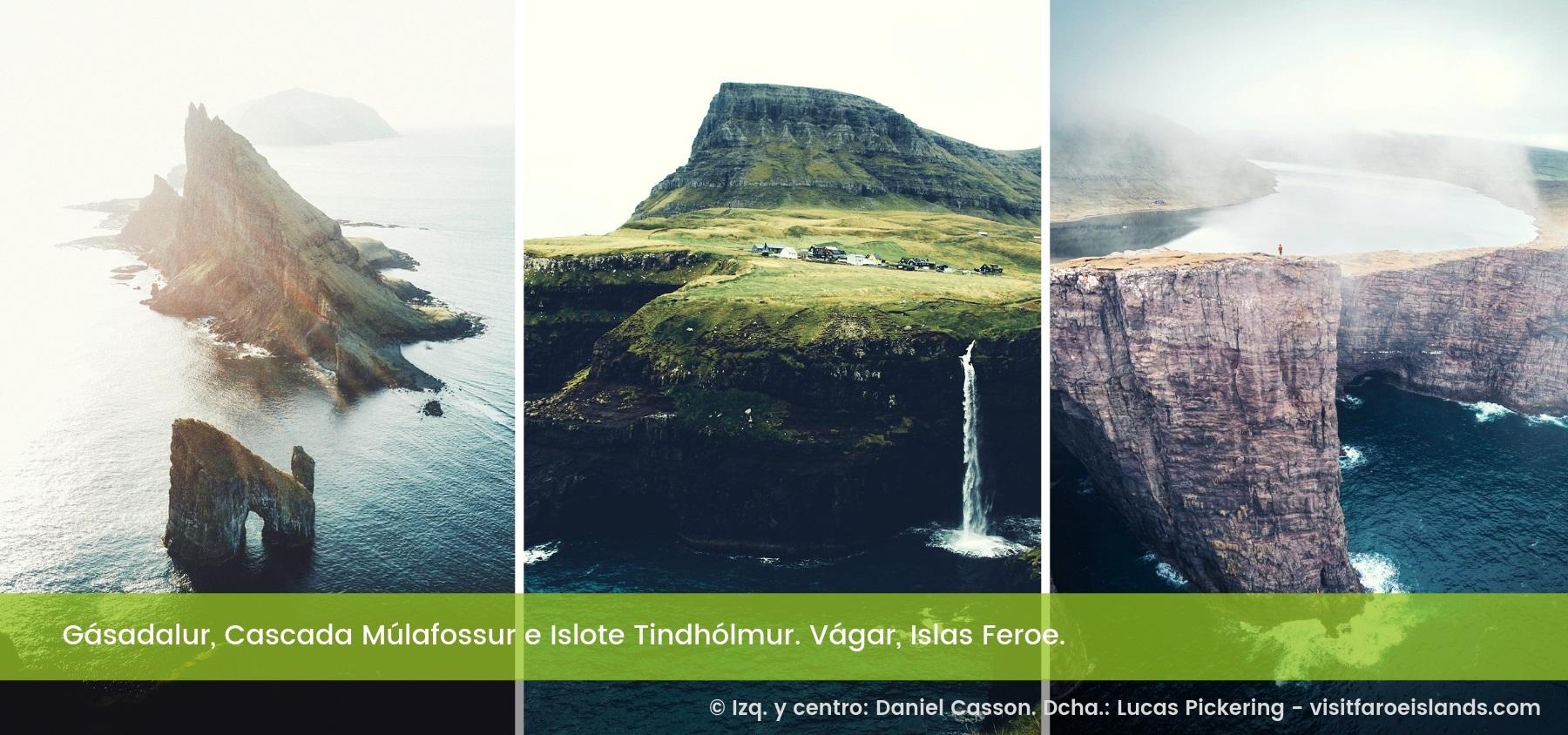 Gásadalur, Cascada Múlafossur e Islote Tindhólmur. Vágar, islas Feroe